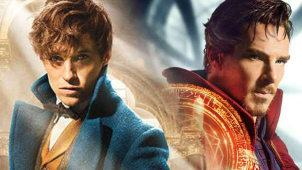 Eddie Redmayne in Fantastic Beasts and Where to Find Them (left) and Benedict Cumberbatch in Doctor Strange (right). Photo courtesy of The Movie Network